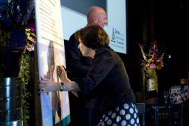 Minister Tineke Huizinga is signing the DA Declaration on September 30, 2010